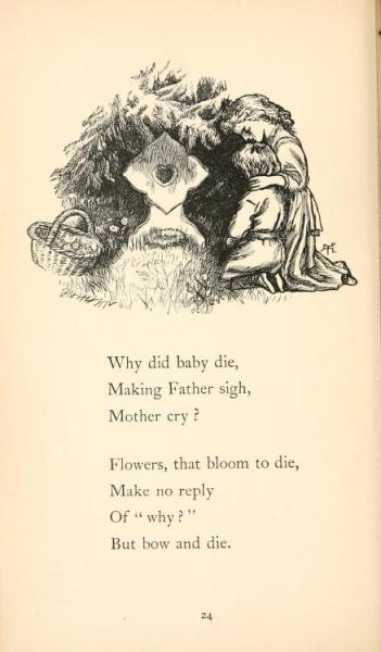 "ofpaperandponies:  ofpaperandponies:  This book was called ""Sing Song Nursery Rhymes for Young Children"". 75% of the rhymes were about death, dying, being poor, having no hope, and joyful things like that. I quite enjoyed it.  Until the mid-1800s, children had about a 50% chance of dying before the age of 5 across all classes, with the more impoverished of course having a higher rate of death than the more privileged classes. Around the 1860s, the gap between the poor and the rich in terms of child mortality widened more and more, especially when tenement living became the norm. At one point, death among immigrant children in Boston tenements was nearly 70% before the age of 5. Until there were widespread public health initiatives to improve tenement conditions and lower the population density of inner cities, this was not significantly lowered. By the end of WWII, infant and child mortality across all classes was lowered below 15% for the first time. Because of all of this, death was a common subject in both children's and adult literature, and was seen as just another unfortunate (if sad) part of life, much as we regard the passing of a loved pet. It wasn't something incredibly tragic, something that just wasn't ever supposed to happen, like it is today. The poems on either side of this one were about the importance of paying attention in school, and about two friends playing ""grown ups"".  Child mortality source."