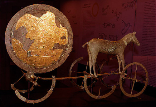 themedvedable:  The Trundholm sun chariot.  The Trundholm sun chariot is a late Nordic Bronze Age artifact discovered in Denmark, that is normally interpreted as a depiction of the sun being pulled by a mare.