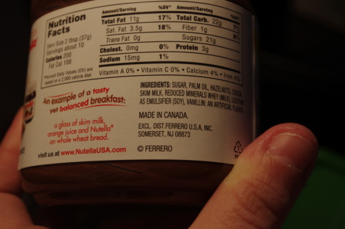 notasirememberit:  Nutella is made in Canada.  I just got way more excited to be moving there. :D (Also, in an effort to locate the manufacturing plant on Google Maps, I learned that I've been pronouncing it wrong. D: It's new-tella, not nut-ella.)