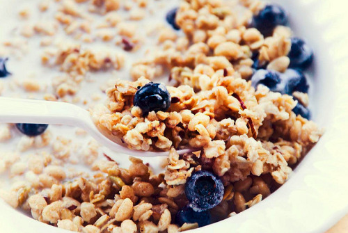 gastrogirl:  granola and blueberries.