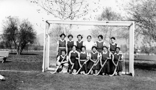 1935 Los Angeles City College Field Hockey Team at Griffith park. Susan Ahn is in front row, 3rd from right.  The U.S. Navy initially rejected Susan Ahn Cuddy when she applied for officer training because she was Asian and anti-miscegenation laws in Virginia prevented her from marrying Frank Cuddy, an Irish American. The type who doesn't take no for an answer, Cuddy became the Navy's first female gunnery officer (that means she trained male pilots how to shoot 50-caliber machine guns) in 1944, went on to work for the National Security Agency where she had 300 intelligence specialists under her command, and did marry her Irishman with whom she had two children.