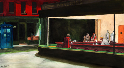 doctorwho:  Night Docs (Hopper's Nighthawks + The Doctor, Amy, and Rory the Roman) See also: Nighthawks + TARDIS