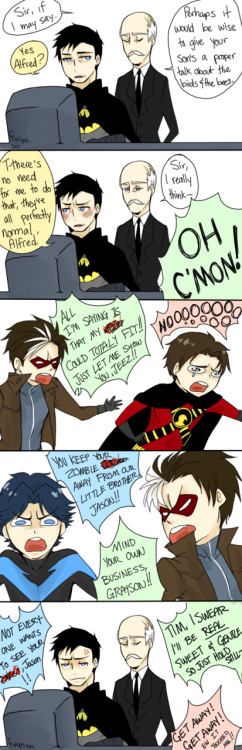 "(high res on DA) Bruce, giving your child 'the talk' will only be awkward for a small amount of time. Look at your life, look at your choices. (i was going to include Damian but the only thing i could think for him to yell out was ""I WANT TO KILL EVERYBODY"" so…)"