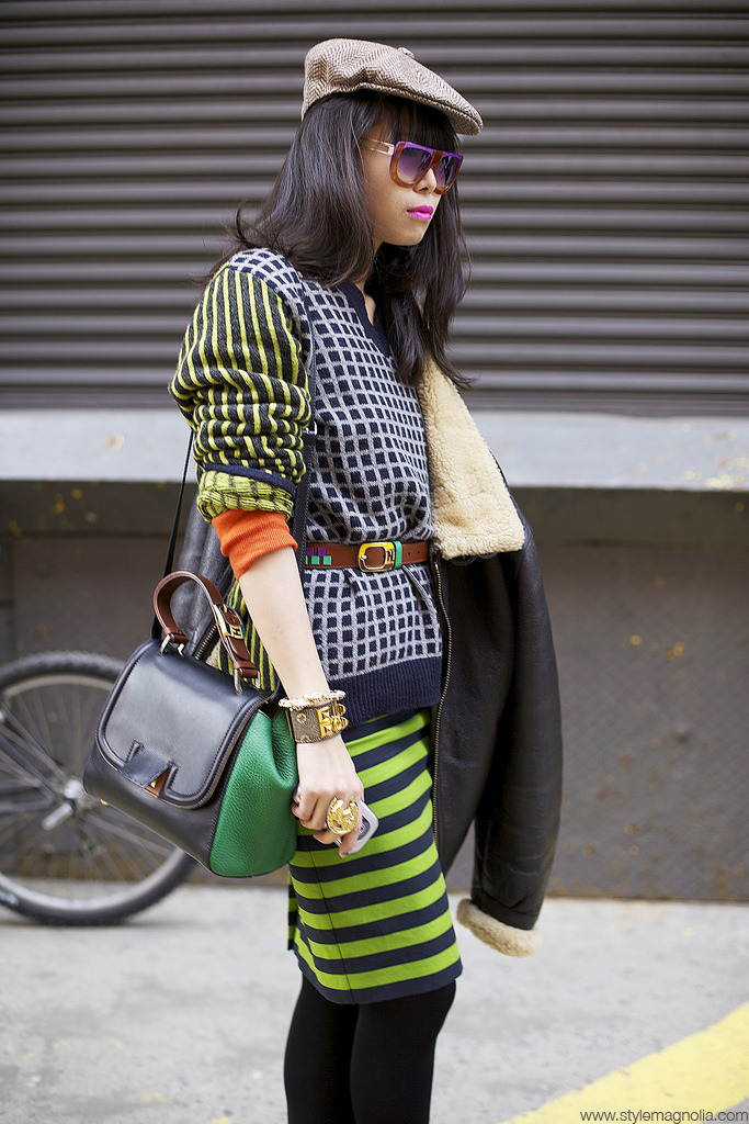 Leaf, and her AMAZING TECHNICOLOUR DREAM OUTFIT…  I love that Fendi bag… and mixed with the Etro sweater and bowlers cap, that I am sure she stole from her boyfriend and granddad respectively, it is the perfect masculine vs feminine mixture.