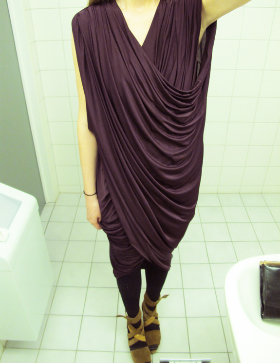 DIY Draped Dress | Anywho I wish I could drape fabric and end up with something as lush and sophisticated as this! If you are able to save up/have a ton of spare money/want to blow a packet, may I suggest getting a dress form? I have a really old one that my dad found in the props department of my home town's Town Hall. Seriously, when he told me he had gotten it for me, I almost cried with excitement! It's what I would call… vintage?! But being able to pin stuff together on it or creating something like this gorgeous dress is so much easier when you have a dress form. Also it is perfect to hang my accessories on! OK, tomorrow I'm going to take a photo of it to share. After I try making this dress!