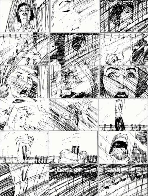 thecarlosramos:  Partial storyboard for the shower scene in Hitchcock's Psycho (1960). By Saul Bass wow!  Really cool, even though there is debate on who really came up with this scene. Hitchcock claims he did, while Saul Bass claims he was the one who directed the actual scene. Either way it's one of my favorite scenes of ALL time.