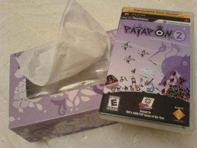 My night consisted of tissues and Patapon 2. Like the rest of my life, they're color-coded. note: Yes, the game is in digital format only (there is no UMD in there); I like collecting the PSP game cases ;x