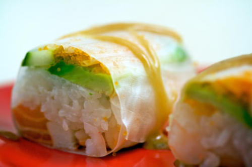 Crab, Cucumber, Shrimp, and Avocado Spring Roll with Brown Sugar Sauce