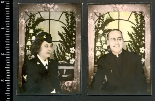 (via 40s PHOTOBOOTH TINTED PHOTOS! WAC WOMAN & PRIEST MAN! | eBay)