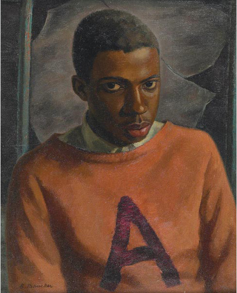 """The Young Black Athlete"" Painting, ca. 1940 Edmond Brucker"