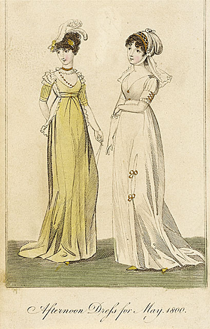 Ladies' Museum, Afternoon Dresses, May 1800.  Look at that cute little jacket thing on the girl in yellow!  So delicate and charming!