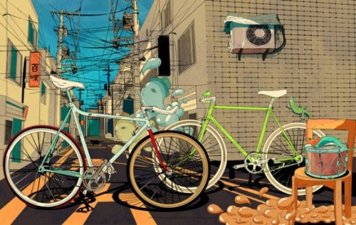 Bikes Illustration by Shan Jiang. More illustrations for your inspiration. __posted by weandthecolor // facebook // twitter