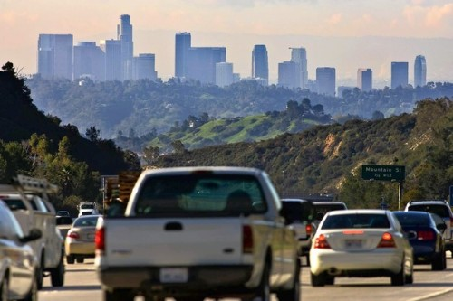 The American Lung Association says smog and soot levels dropped significantly in Southern California over the last decade, but the L.A. area remains the worst region in the nation for ozone pollution.  Photo: The main sources of air pollution in Southern California are tailpipe emissions from cars, and diesel pollution from trucks, trains and ships linked to the ports of L.A. and Long Beach. Credit: Irfan Khan / Los Angeles Times