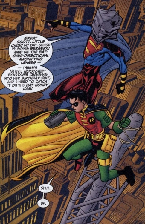 I love Superboy and Robin!  While I love the Young Justice cartoon and think it's great, I do miss having serious-business Robin and goofy-irresponsible Superboy. :S