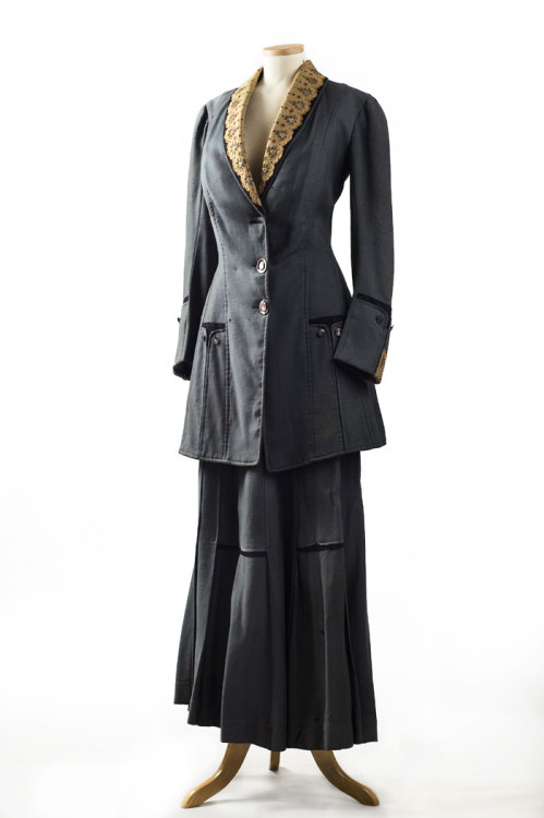 Blue wool wedding suit, 1910. This tailored suit bears a label from Louis Cohen & Co., Charleston, S.C. and was worn by the donor's grandmother, Alma Grace Van Keuren (1891-1984) when she married Louis Johnson Stackley on August 17, 1910 in Kingstree, SC. They had a morning wedding and then caught the train to Baltimore for their honeymoon. Louis Cohen is listed as a Dry Goods & Department Store on King Street from 1880 – 1924 in the City Directories. 2005.60.1  The Charleston Museum