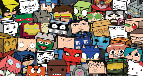 Cubeecraft Show Opens May 6th @ Brave New Worlds in Philly. Don't even act like you don't know WTF Cubeecraft is. They're those cute, blocky, little papercraft models featuring all sorts of characters from comics, games, movies, and TV shows that you can print out and assemble yourself. They're basically free designer toys for people with patience who don't mind a few papercuts. For anyone in the Philly area, comic shop Brave New Worlds will be hosting a Cubeecraft exhibit where tons of oversized Cubeecraft will be on display. You'll also be able to get your hands on some exclusive Cubeecraft kits and meet Cubeecraft creator Christopher Beaumont. Here's the details:  Contributing artists: Glen BroganEvan Cheng Vanessa GermosenEmilio LopezDerek RippeSalazadTougui Marko Zubakand more! Show info: Friday Night, May 6th 201145 N. 2nd Street Philadelphia, PA215.925.6525