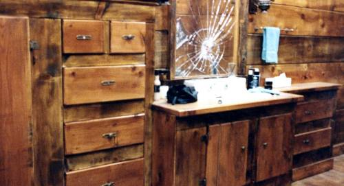 wood bathroom w/built-ins