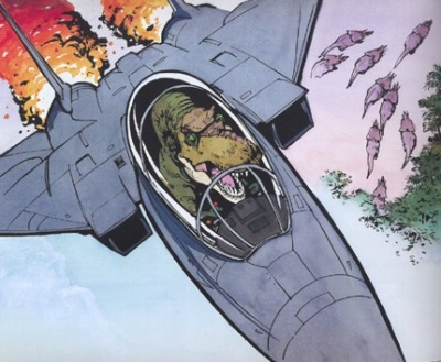 knowyourmeme:  Dinosaurs, fighter jets, and Calvin & Hobbes will never not be awesome. KYMdb- T-Rex in a Fighter Jet