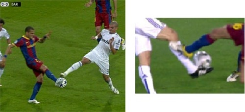 mokillosa:  footballandbeyond:  Pepe's tackle vs. Mascherano's wonder which one is the red card mmmmm  diferencia entre amarilla y roja…pero fue roja y NADA xD me meo!