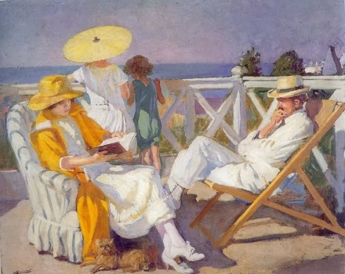 thomerama: 1921 Lucien Jonas (French 1880-1947) ~ Terrace in Villiers