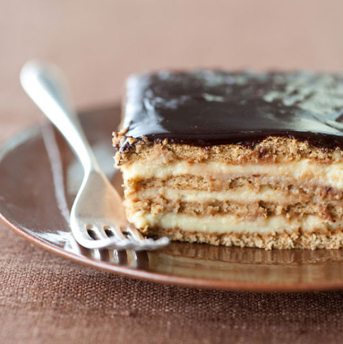 lovelylovelyfood:  Boston Cream Pie Strata with Vanilla Custard and Chocolate Frosting