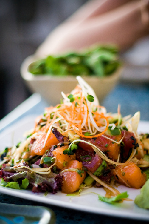thatkindofwoman:  lovelylovelyfood: Japanese Tuna and Salmon Poke Salad with Octopus, Sweet Maui Onions, and Sprouts  The actual food sounds funky, but the colors, oh the colors.