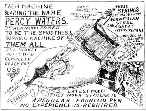 mattlodder:  Advert for Percy Waters' tattoo machines, 1928