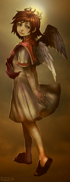 rainbowsqueeze:  Rakka from Haibane Renmei, quick sketch over a few odd days.