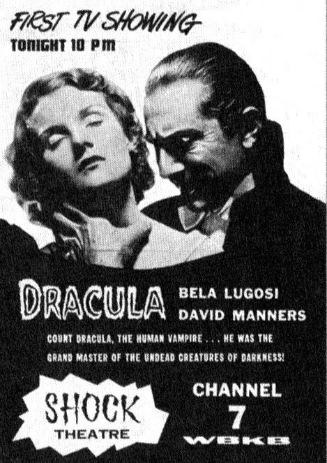 Ad for Chicago's Shock Theater premier broadcast of Dracula, with Horror Host Marvin.