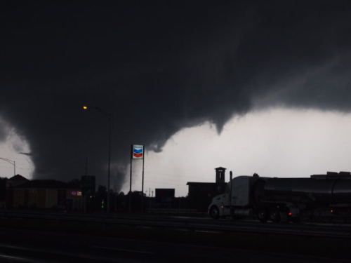 Tuscaloosa storm damage: According to CNN, at least 31 people have been killed by Wednesday's storms, including a shockingly-high 25 in Alabama, five in Mississippi and one in Arkansas. Here's a photo from the storm touching down in Tuscaloosa, from Twitter user @MPRacing.