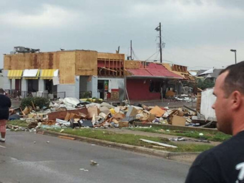 More damage in Tuscaloosa: A photo of a greatly damaged McDonald's in the city. The level of damage we've seen is just unimaginable. (via @Swagga2Stoopid, who has also posted pictures of a damaged Krispy Kreme and a damaged Milo's)