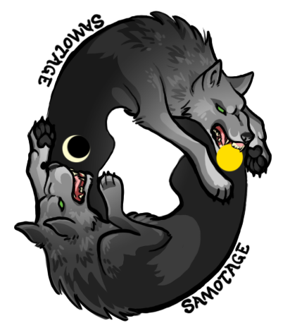 colored one of the sticker ideas as a test. It's based on Hati and Skoll from Norse mythology. The sun and moon are halfassed because I realized halfway through working on this that it is a way lower DPI than I wanted (plus I'd really rather do this in illustrator if I can get it to work HRRRNGH)