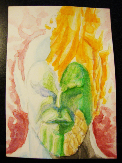 Super Skrull 2x3 inch watercolor card