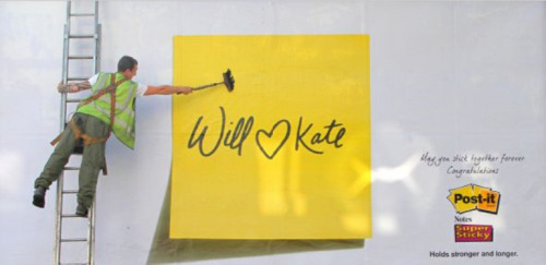 Post-it wishes for the Royal Wedding:  May you stick together forever. :D