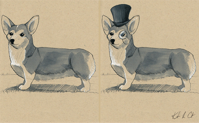Just sold the Well-bred Welsh Corgi!  Ta-ta you fine gentleman of a pup! You will be missed! http://www.etsy.com/shop/Randemporium
