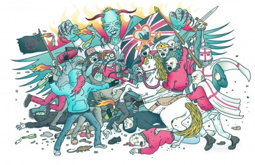 Tired of the Royal Wedding? Check out Andrew Rae's colorful illustration for Vice. See more of Andrew Rae's illustration work here. listen-with-your-eyes:  Seeing as everyone's cashing in on this wedding thing that's happening tomorrow I figured I should jump on the bandwagon with the help of Vice. See the full thing here