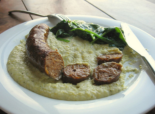 pork sausage from 4505 meats + ramp grits at the summit sf (by foodiehunter)
