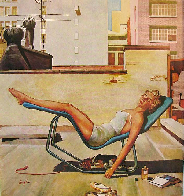 Sunbathing on the rooftops, artist unknown I love this idea of sunbathing on the city rooftops.