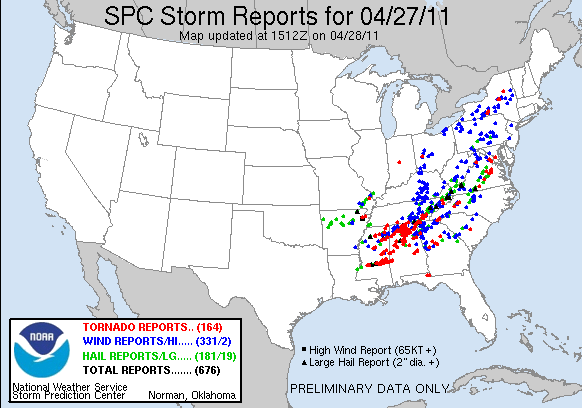 Map from the National Weather Service showing where tornadoes, wind and hail storms were reported after yesterday's severe storms across the eastern portion of the United States.