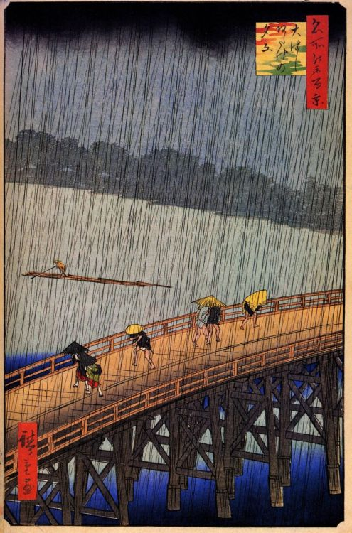 Sudden Shower at the Atake Bridge, 1856. Hiroshige.