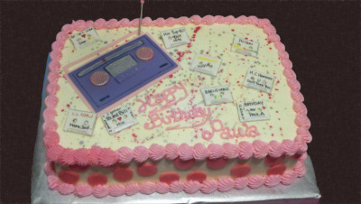 Paula's birthday cake—reliving the 90's with a jambox and cassettes…