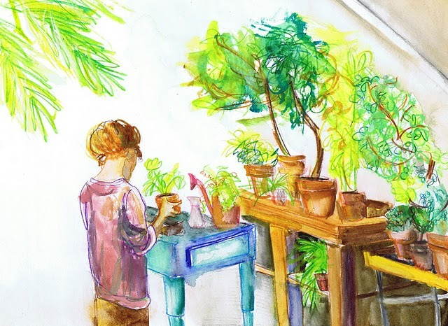 (via naomese - naomi bardoff's art blog: more plants, plus Illustration Friday submission)