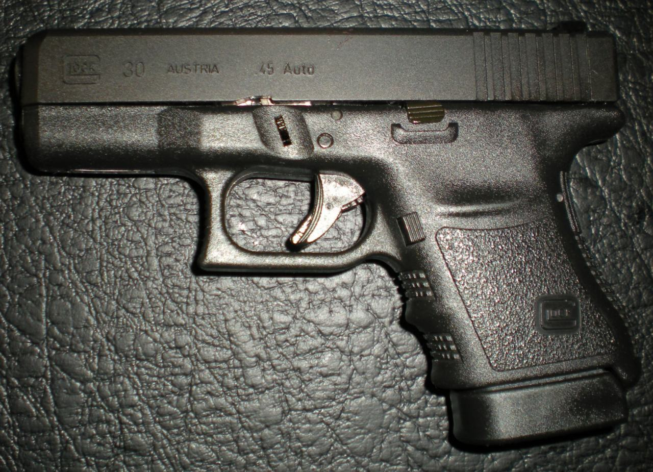 Glock 30 (.45 ACP). A nice, more easily carried companion to my Glock 21.