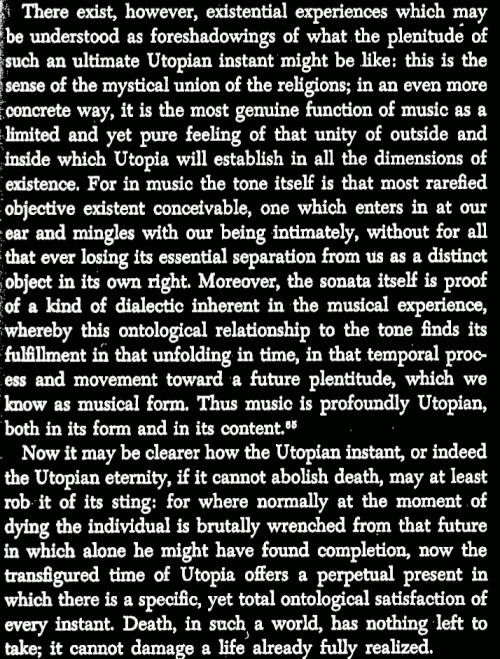 Jameson (1971) on Bloch, Music and Utopia