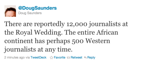 youngmanhattanite:  Solution: If Africa wants media coverage, it needs to have a Royal Wedding.