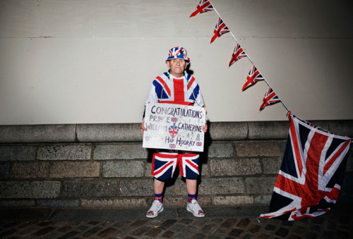 """I have met the Queen lots of times; they call me, 'The Union Jack Man.' She knows who I am. She's got used to me being about. She sometimes gives me a little wave and a smile,"" says a weather-beaten Hutt. ""I am really looking forward to the wedding. I want to see them come out as a married couple, a future king and queen. I'm sure they will make the grade. I think it's true love. Instead of meeting each other in Buckingham Palace, they met at university, they fell in love, had their arguments, broke up and now they are back in love gain. We've all done it.""  That's Terry Hutt, a 76-year-old royal wedding supafan."