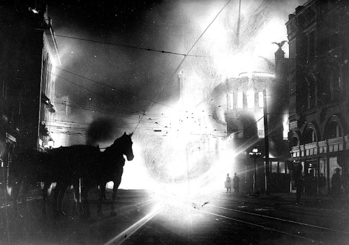 reblogged via kateoplis:  Oct. 1, 1910: The bombing of the Los Angeles Times building by union activists  Photo: Fire rages through The Times Building on Oct. 1, 1910, as seen from Broadway just south of First Street. Credit: Courtesy of University of Southern California, on behalf of the USC Special Collections