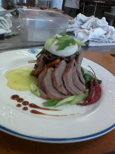 The fruits of my labors. My recipe and my plate design. Roast duck rubbed with chili sambal, hoisin tea sauce, a soba noodle and forbidden rice salad with steamed vegetables and a ginger and sriracha vinaigrette, steamed bok choy and summer squash, and an egg poached in rice vinegar and sake. Nutrition class is fantastic and I'm going to destroy it like Godzilla.