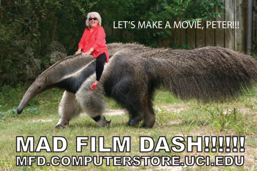 theucibookstore:  Registration for our 24-hour Mad Film Dash competition ends next Thursday! Mad Film Dash is a FREE competition where teams of up to 8 participants have 24 hours to to write, film, and edit a short movie. Click here for more info and to register!