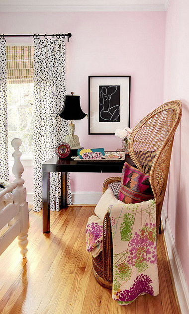 Peacock chair chic!  Love this room! Kooky fun!
